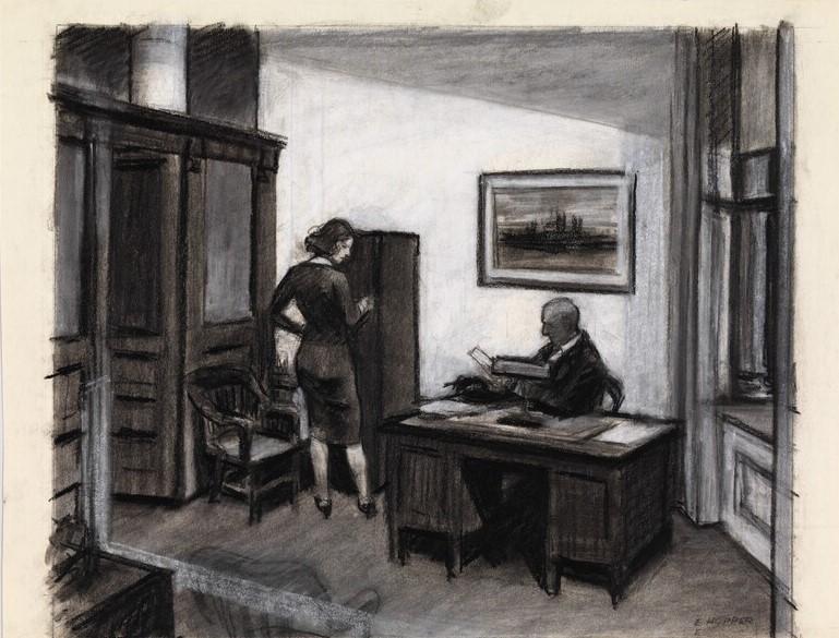 Dessin au carbone - Study for office at night - Illustration de la demande de permis de séjours pour les étrangers