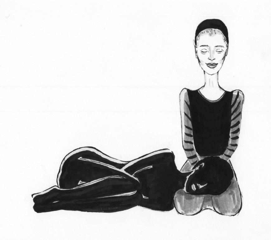 une femme noire est recroquevillée, couchée, la tête sur les jambes d'une autre femme. Dessin noir et blanc de Ronja Mueho.